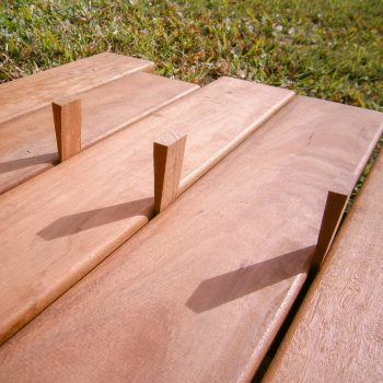 decking boards, timber wedges, installing decking boards, spotted gum decking