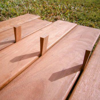 decking boards, timber wedges, installing decking boards, spotted gum decking